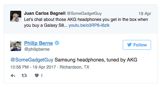 Twitter Screenshot of Samsung S8 headphone tuned by AKG