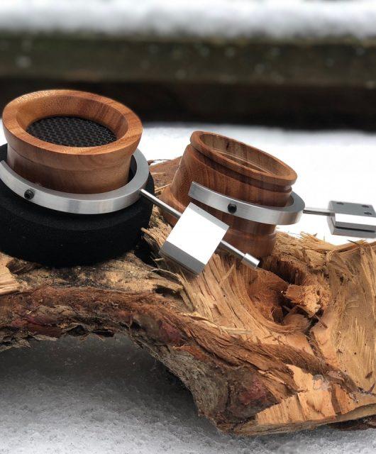 Shipibo Audio Mahogany wooden cups, prototype aluminum rod blocks and gimbals