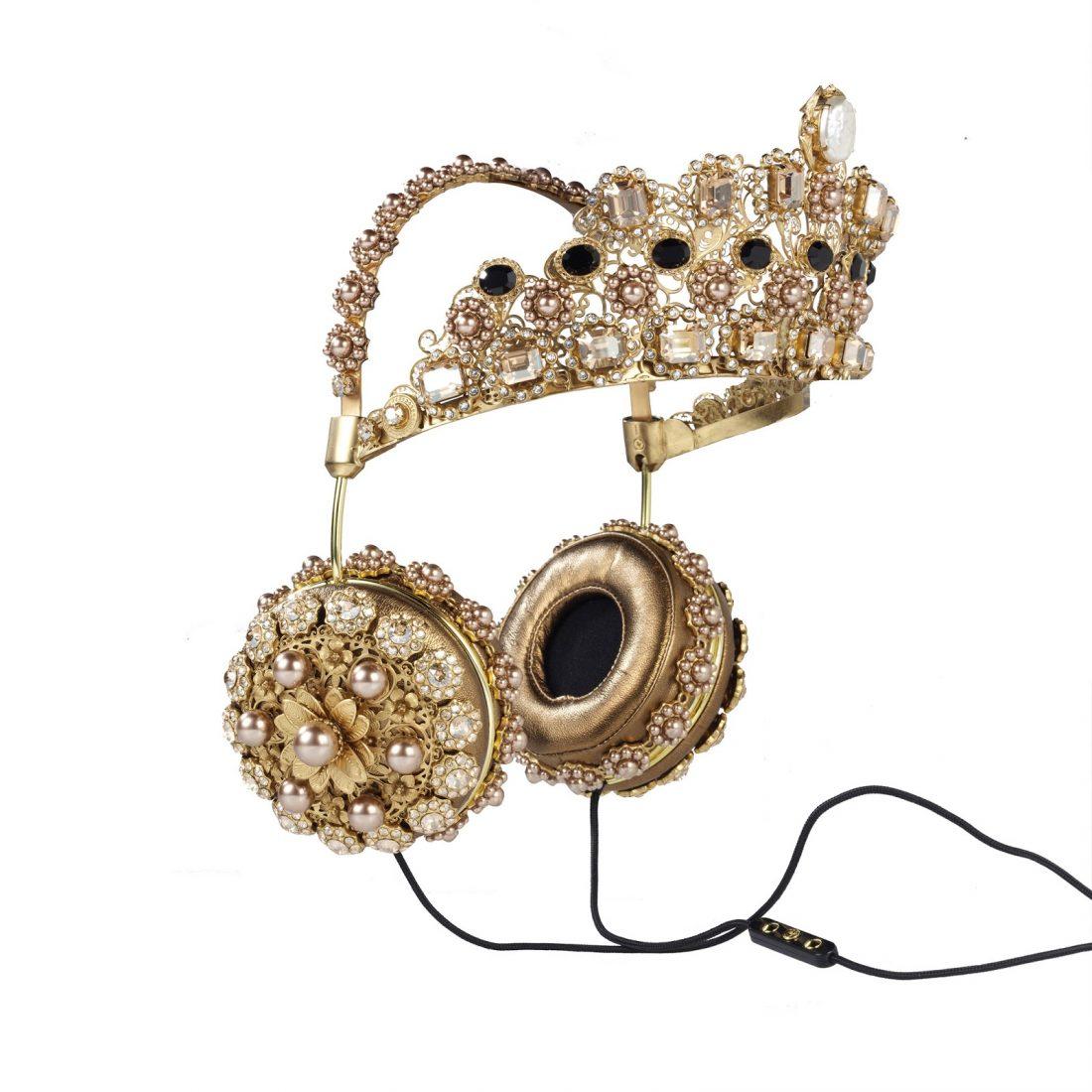 "Dolce & Gabbana's ""Napa Leather Rhinestone Headphones With Crown"""