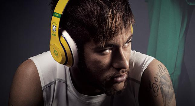 Neymar wearing his Brazil-inspired Beats Studio Wireless during Rio Olympics