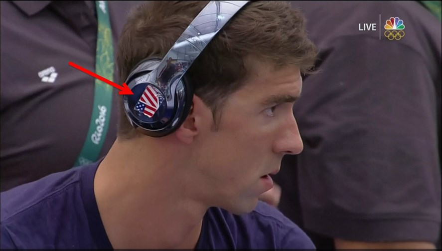 Michael Phelps wearing his custom Beats Studio with tapes on it