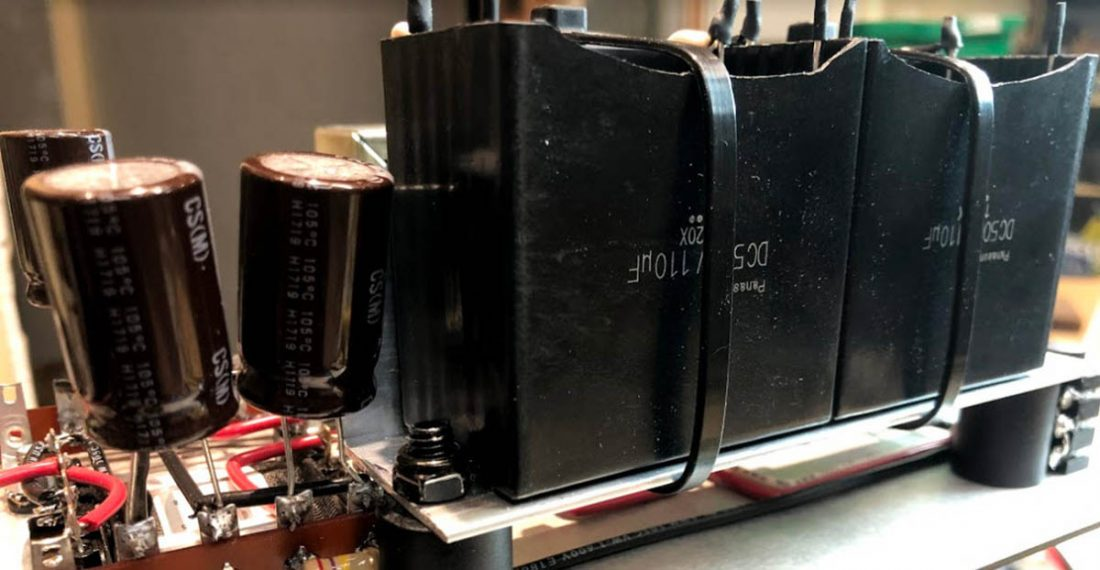 Upgraded output capacitors in a Bottlehead Crack build by fellow Headphonesty author Trav Wilson