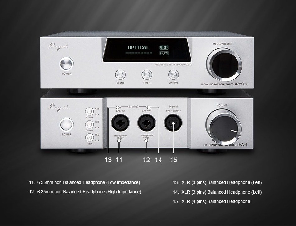 """the cayin iha-6 headphone amplifier featuring low and high impedance ¼""""  single-ended, dual 3-pin xlr balanced and 4-pin xlr balanced headphone  outputs from"""