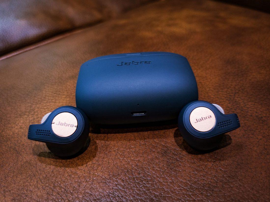 Jabra Elite Active 65t's Earbuds besides its case