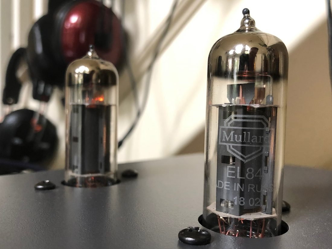 The warm tube glow of the Mullard EL84 tubes.
