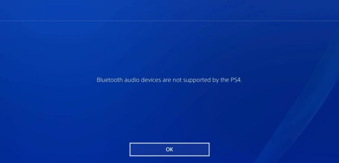 Bluetooth audio devices are not supported by the PS4.