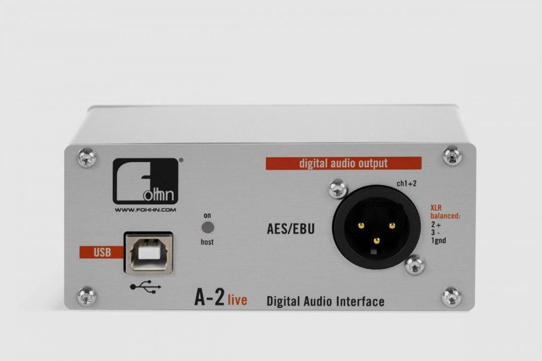 USB audio output of a Fohhn A-2 Live Digital Audio Interface. From Fohhn.com.