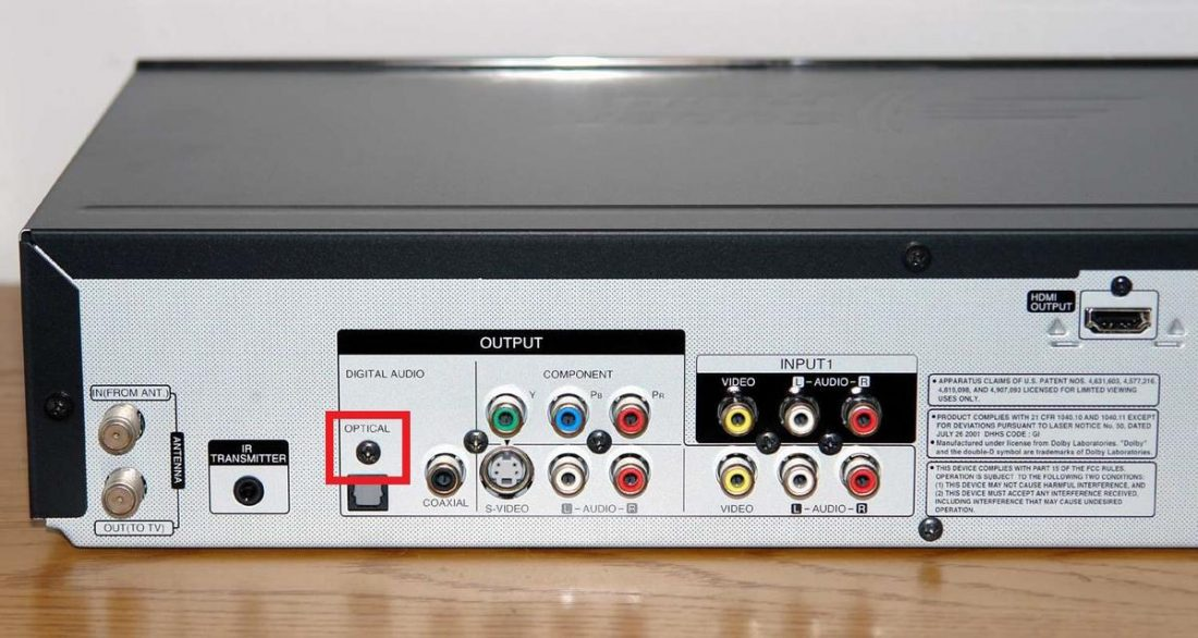 Backside of LG RC897T DVD Recorder VCR Combo showing an optical output. From Lifewire.com.