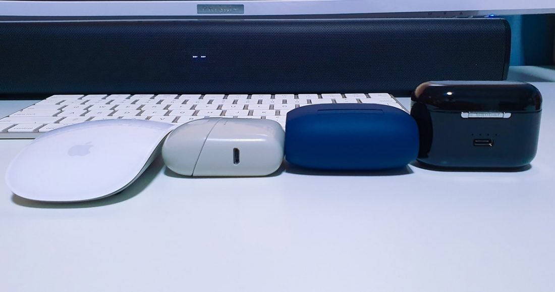From Left to Right: Apple Mouse, Melomania 1, Jabra Elite 65t, Saabat E12