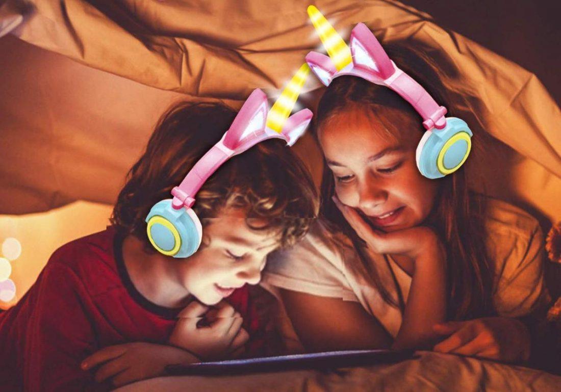 Kids wearing GBD Unicorn Kids Headphones