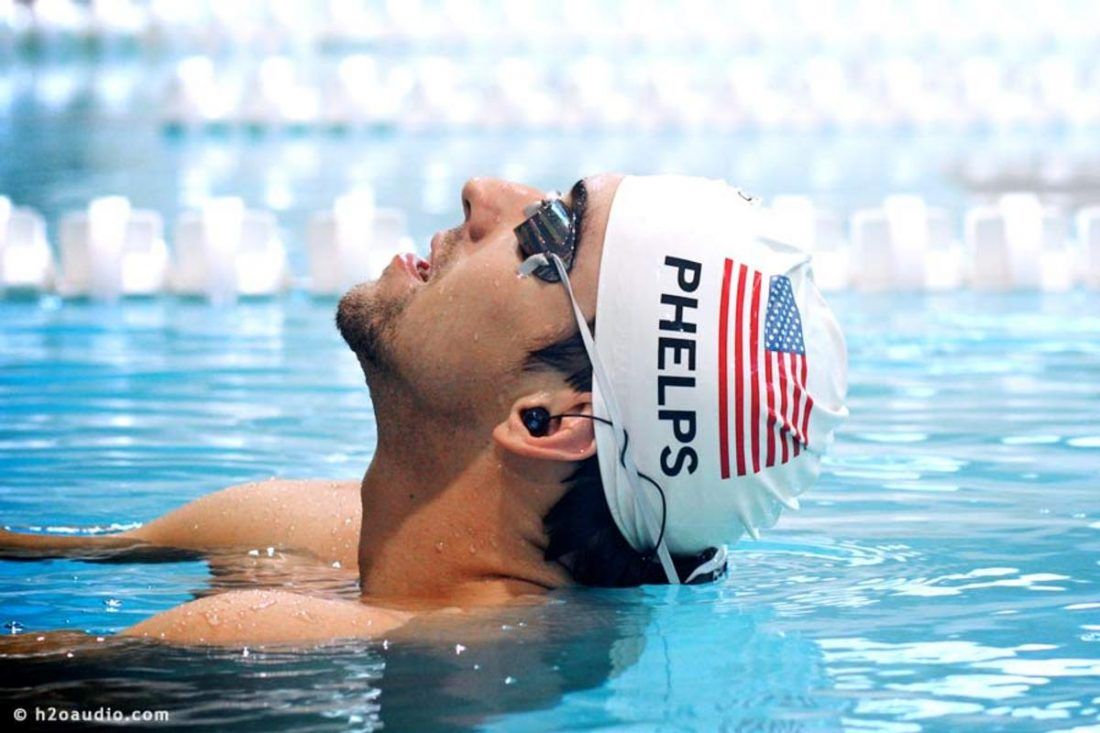 Michael Phelps with his H2O Audio Surge 2G