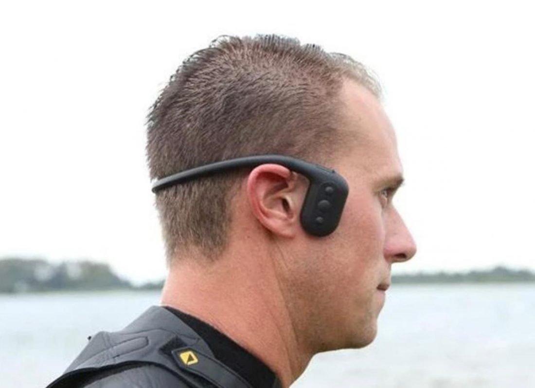 Swimmer wearing the Tayogo Waterproof Bone Conduction Headphones