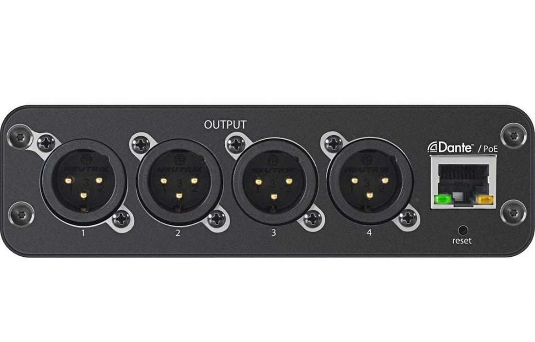 XLR output of the Shure ANI4OUT-XLR Audio Network Interface