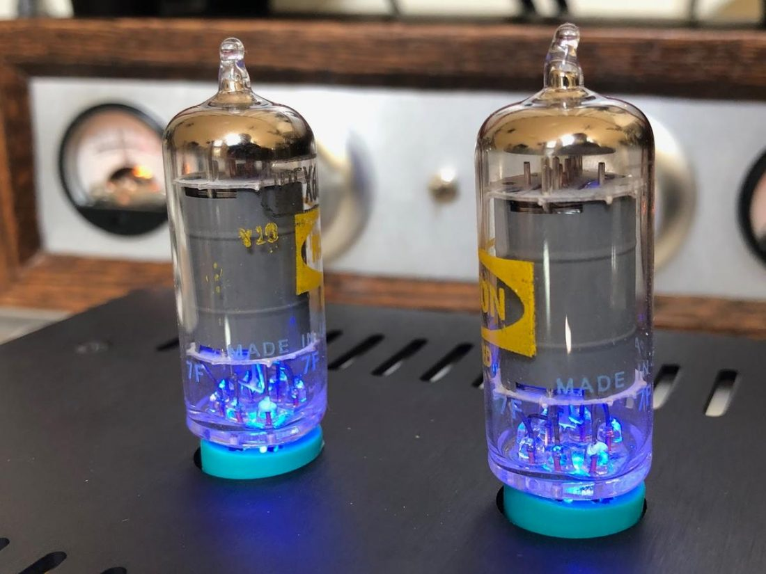 The blue LEDs shining up through the tube.