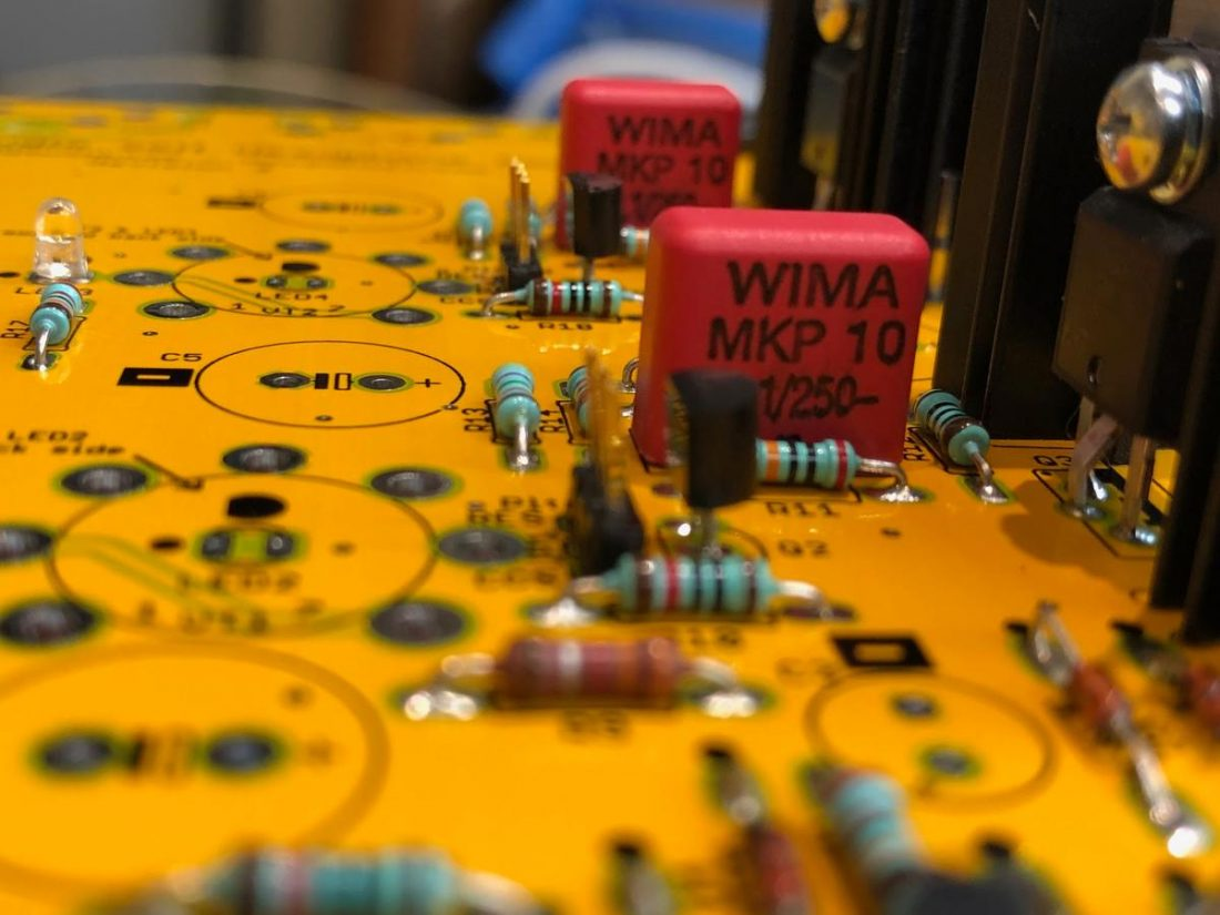 Wima film capacitors on a partially assembled board.