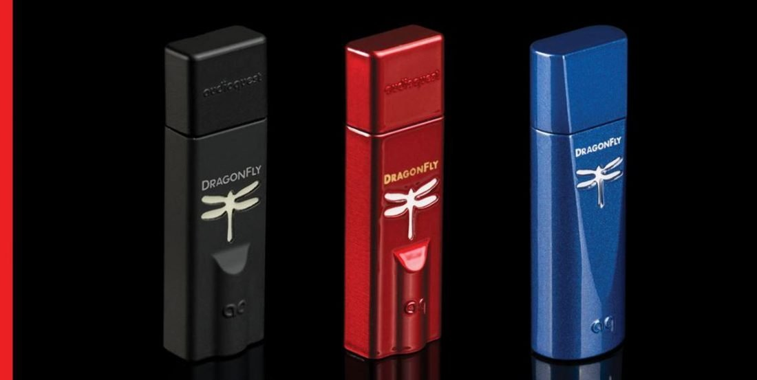 The Dragonfly DAC series: Black, Red and Cobalt. (From: audioquest.com)