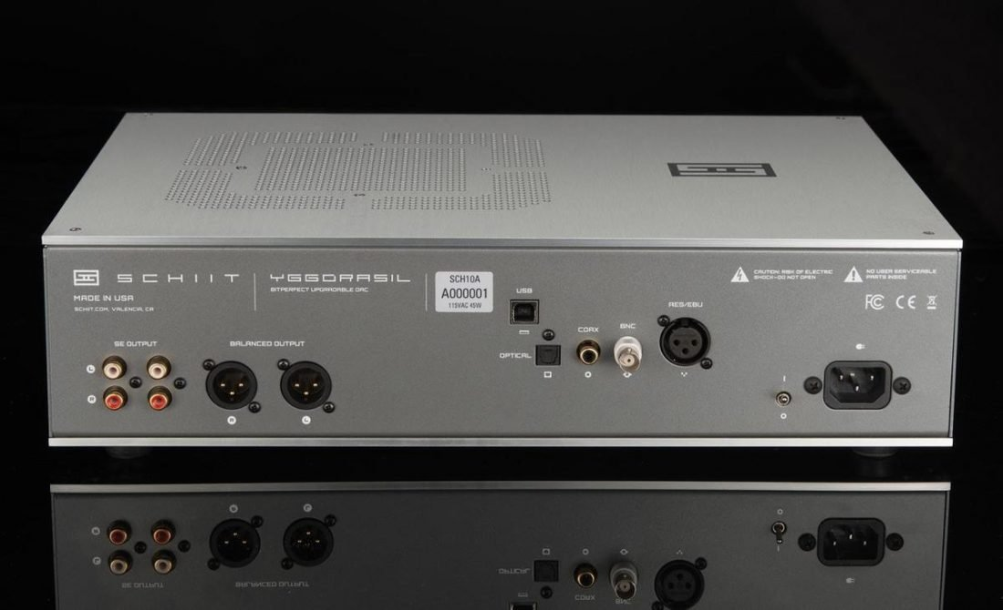 RCA and XLR analog outputs on the left and digital inputs on the right on the back of the Yggdrasil. (From: schiit.com)