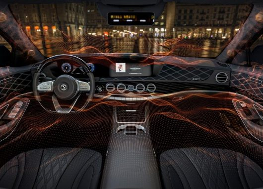 Like a violin that uses the wooden body as a surface to resonate sound, Continental-Sennheiser's Ac2uated Sound technology uses select surfaces of a car's interior to produce sound. (From Continental/Sennheiser)