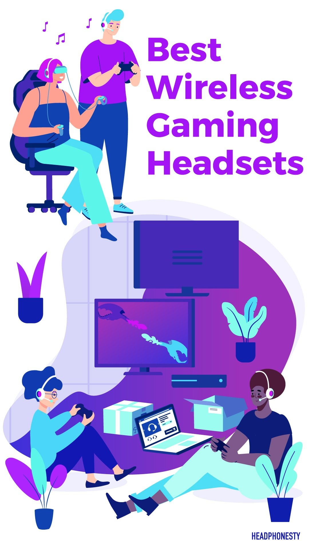 Best Wireless Gaming Headsets Image for Pinterest