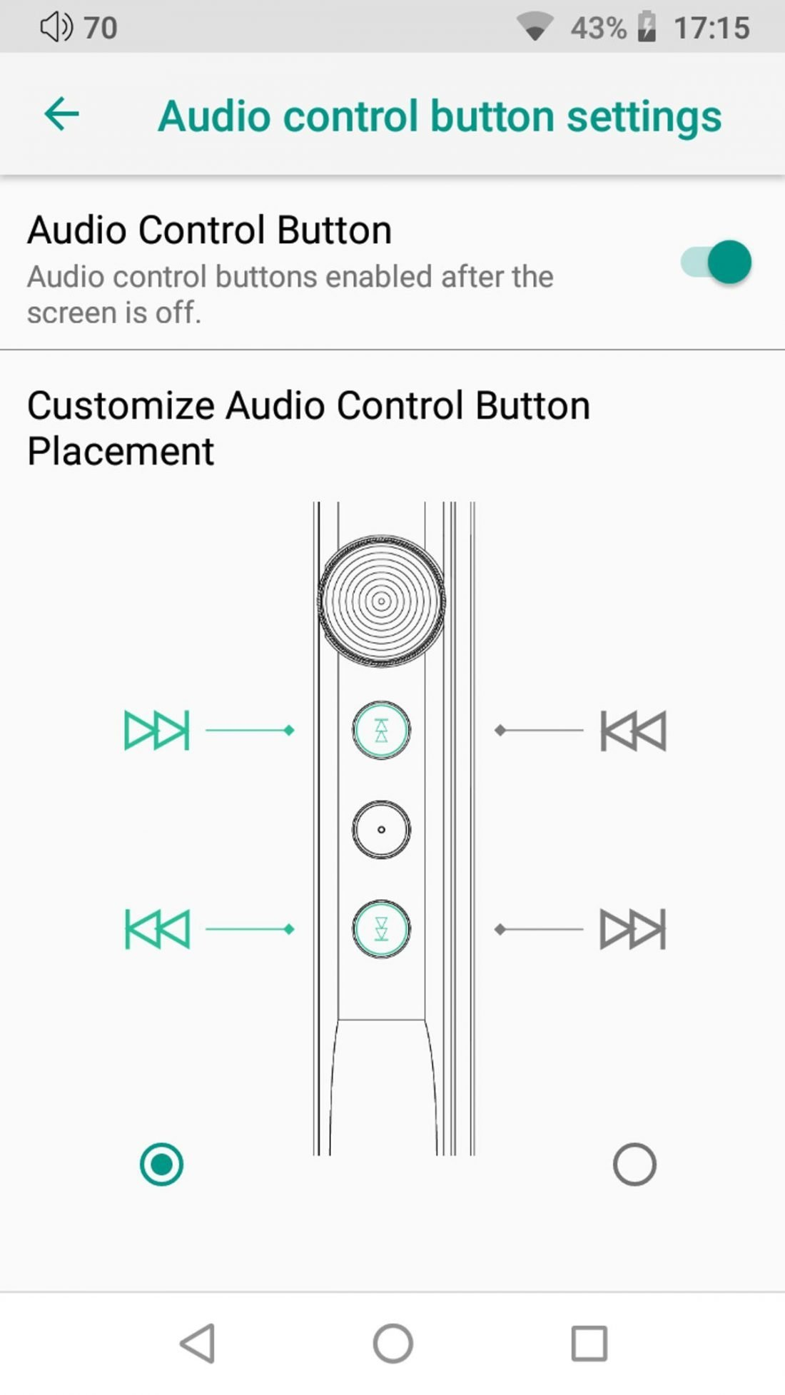 Users have the freedom to toggle the usage of each button