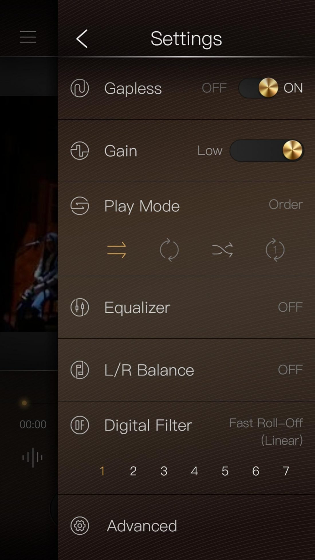 Various settings are available in the Mango Player