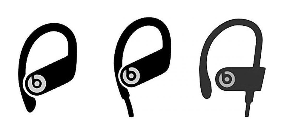 Powerbeats Pro icon on left, new Powerbeats 4 icon in middle, Powerbeats 3 icon on right. (From MacRumors)