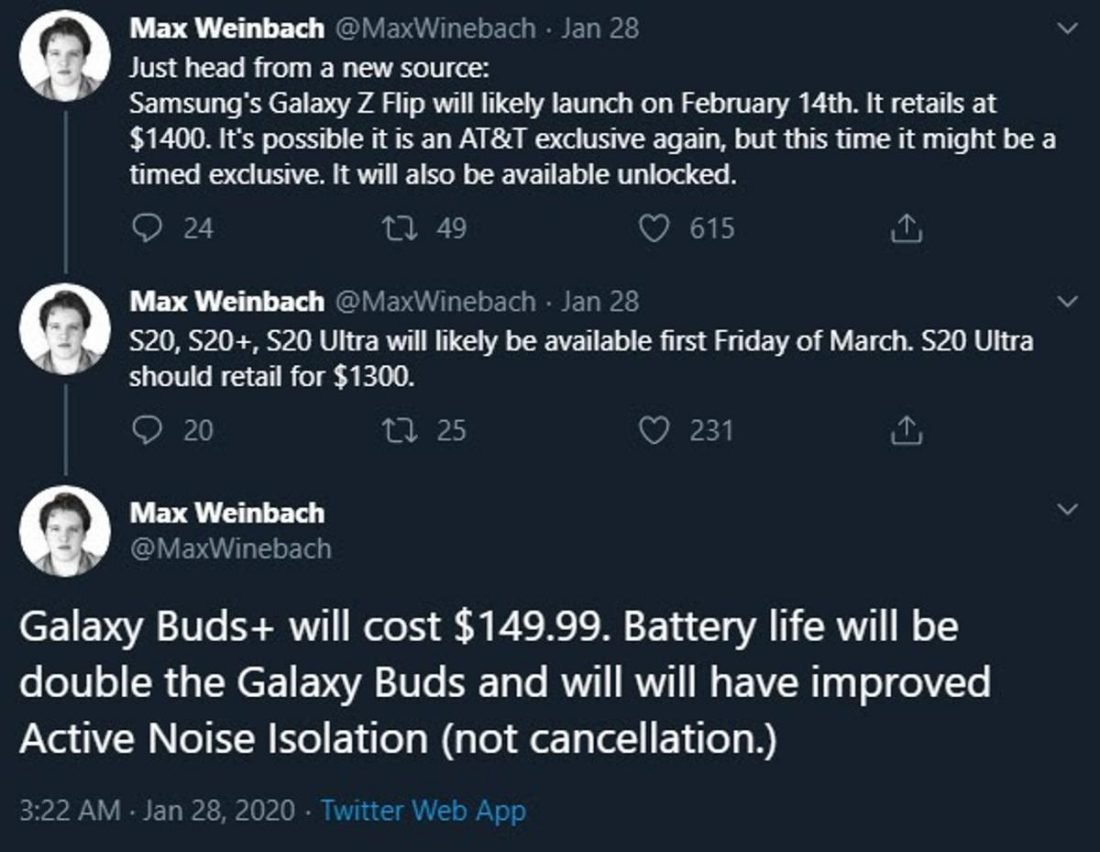 Samsung's Galaxy Buds+ are expected to retail for $20 more than the previous model (From: @MaxWinebach, Twitter)