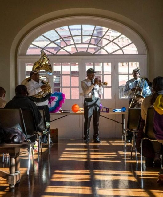 Musicians play for children with Autism (From: Sophia Germer, nola.com)