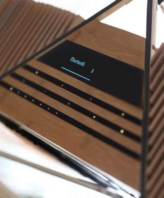The iFi Aurora speaker's front is made of wood (From: iFi)