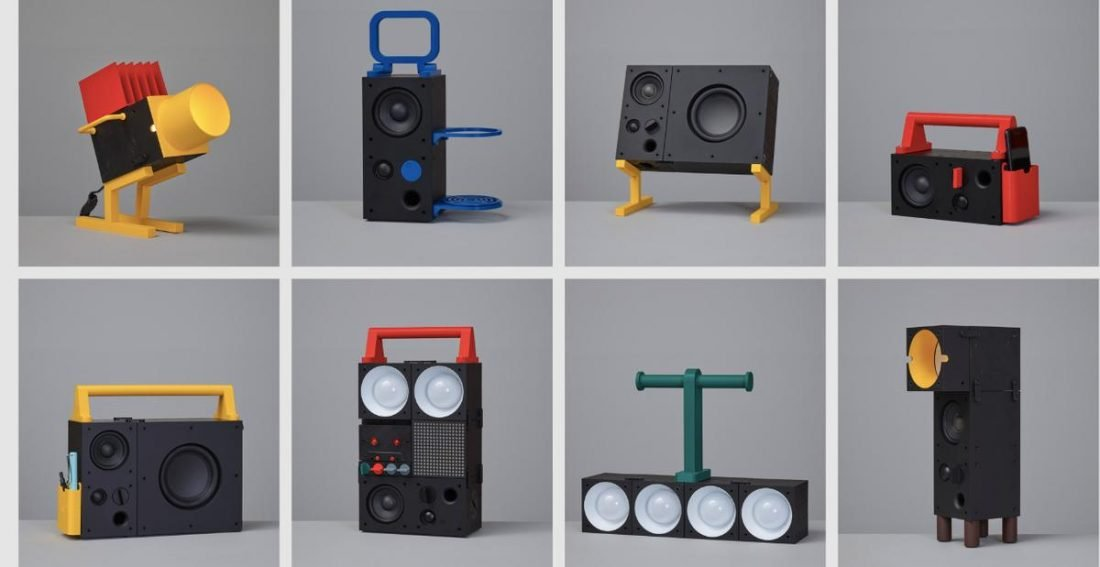 Some of the stylish accessory designs offered to match Frekvens speakers and other items. (From Teenage Engineering)