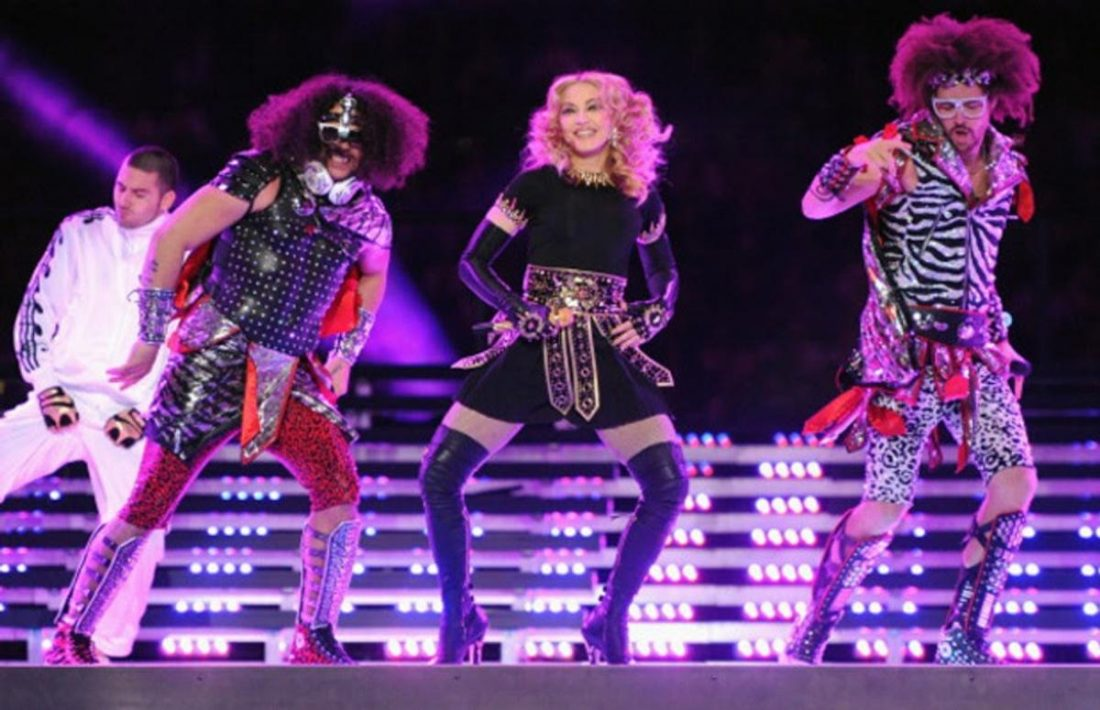 LMFAO and Madonna dancing to the duo-rappers' hit