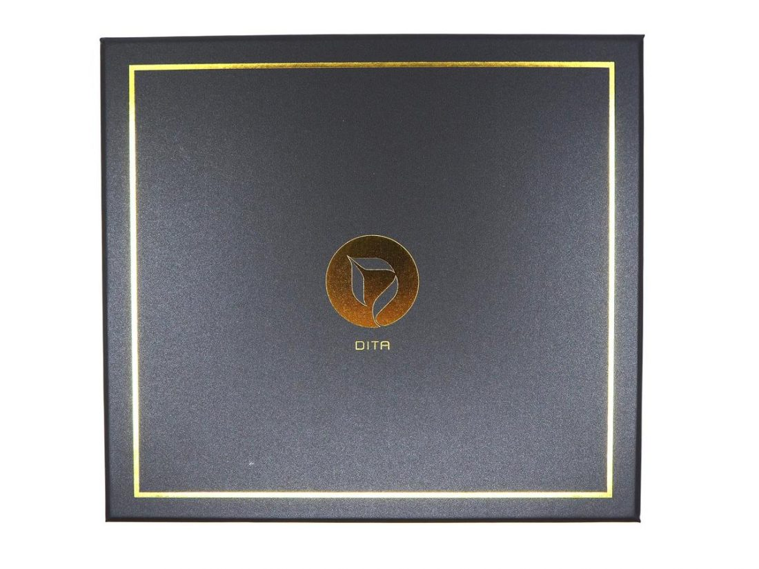 The luxury box with gold and black colour combination